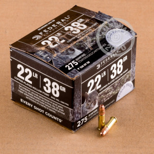Image of bulk .22 Long Rifle ammo by Federal that's ideal for hunting varmint sized game.