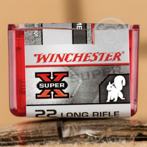 Photograph of .22 Long Rifle ammo with Power-Point (PP) ideal for hunting varmint sized game, precision shooting, training at the range.