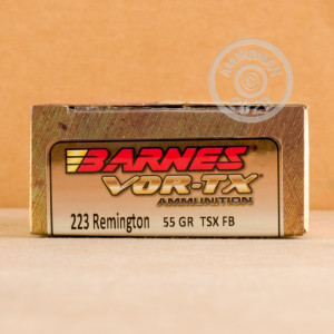 A photograph detailing the 223 Remington ammo with TSX bullets made by Barnes.