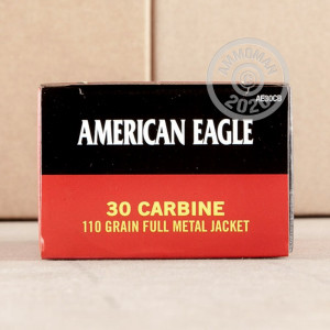 A photograph of 500 rounds of 110 grain .30 Carbine ammo with a FMJ bullet for sale.