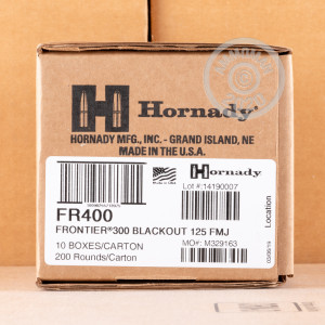Image of the 300 AAC BLACKOUT HORNADY FRONTIER 125 GRAIN FMJ (20 ROUNDS) available at AmmoMan.com.