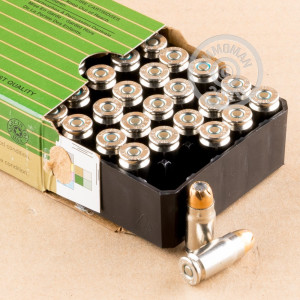 A photograph of 50 rounds of 125 grain 357 SIG ammo with a JHP bullet for sale.
