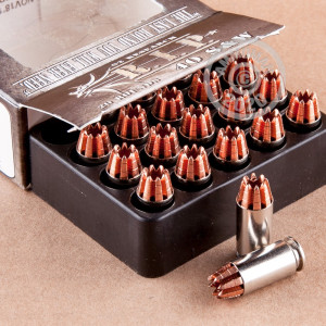 Image detailing the brass case and boxer primers on the G2 Research ammunition.