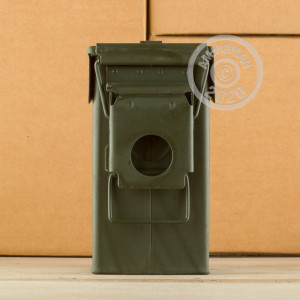 Photograph showing detail of 5.56x45MM PENETRATOR GREEN TIP #M855 (SS109) IN AMMO CAN (420 ROUNDS)