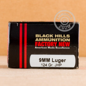 Image of 9mm Luger ammo by Black Hills Ammunition that's ideal for home protection.