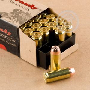Image of 50 Action Express ammo by Hornady that's ideal for big game hunting, home protection, hunting wild pigs, very large animal hunting, whitetail hunting.