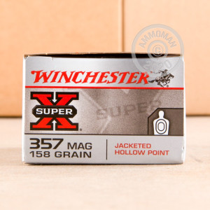 Image of 357 Magnum ammo by Winchester that's ideal for home protection, hunting wild pigs, whitetail hunting.