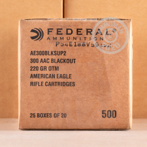 Image of the 300 AAC BLACKOUT FEDERAL AMERICAN EAGLE 220 GRAIN OTM SUBSONIC (500 ROUNDS) available at AmmoMan.com.