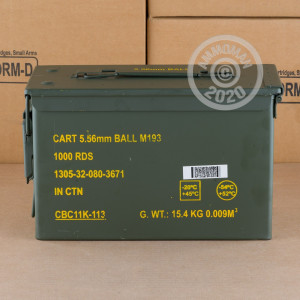 Image of 5.56x45MM MAGTECH/CBC 55 GRAIN FMJ IN AMMO CAN (1000 ROUNDS)