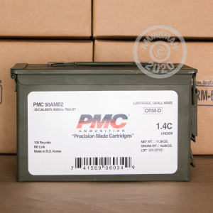 An image of .50 BMG ammo made by PMC at AmmoMan.com.