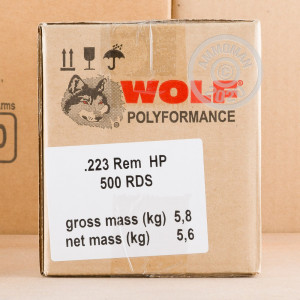 Photo detailing the 223 REM WOLF WPA POLYFORMANCE 55 GRAIN HP (20 ROUNDS) for sale at AmmoMan.com.