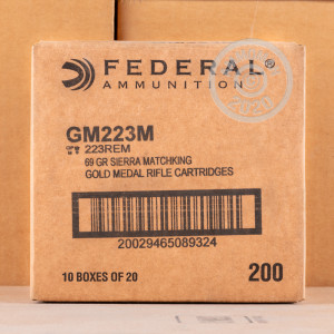 Photo detailing the 223 REMINGTON FEDERAL PREMIUM SIERRA MATCH KING GOLD MEDAL 69 GRAIN BTHP (500 ROUNDS) for sale at AmmoMan.com.