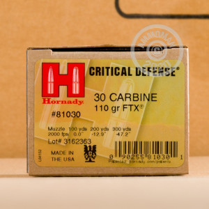 An image of .30 Carbine ammo made by Hornady at AmmoMan.com.