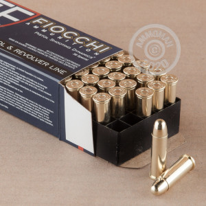 A photograph detailing the 38 Special ammo with FMJ bullets made by Fiocchi.