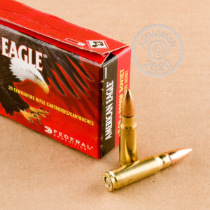A photograph detailing the 7.62 x 39 ammo with FMJ bullets made by Federal.