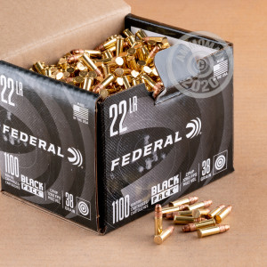 A box of Federal ammo in .22 Long Rifle that's often used for hunting varmint sized game, training at the range.