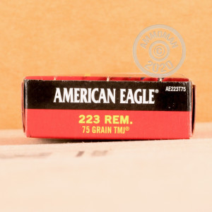 Photograph showing detail of 223 REM FEDERAL AMERICAN EAGLE 75 GRAIN TMJ (20 ROUNDS)