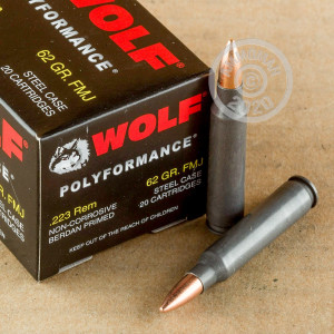 Photograph showing detail of 223 REMINGTON WOLF WPA POLYFORMANCE 62 GRAIN FMJ (20 ROUNDS)