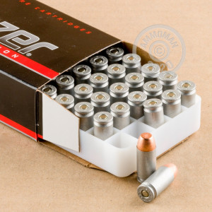 A photo of a box of Blazer ammo in .40 Smith & Wesson.