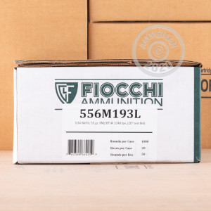 Photo detailing the 5.56x45MM FIOCCHI 55 GRAIN FMJBT M193 (50 ROUNDS) for sale at AmmoMan.com.