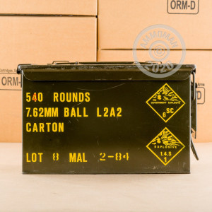 A photograph of 540 rounds of 146 grain 308 / 7.62x51 ammo with a FMJ bullet for sale.