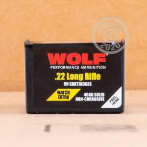 Photograph of .22 Long Rifle ammo with Lead Round Nose (LRN) ideal for precision shooting.