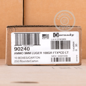 A photograph of 250 rounds of 100 grain 9mm Luger ammo with a flex tip technology bullet for sale.