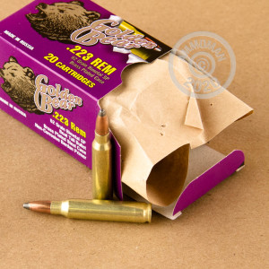 Image detailing the brass plated steel case on the Golden Bear ammunition.