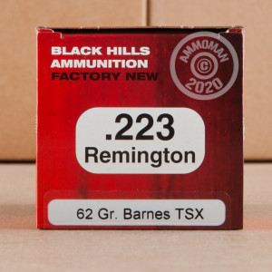 Image of 223 Remington ammo by Black Hills Ammunition that's ideal for whitetail hunting.