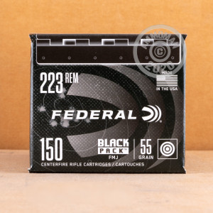 Photo detailing the 223 REM FEDERAL BLACK PACK 55 GRAIN FMJ (600 ROUNDS) for sale at AmmoMan.com.