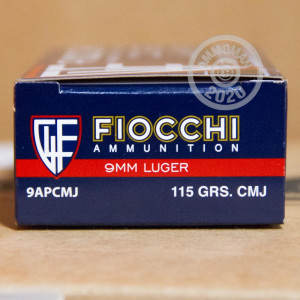 Image of 9mm Luger ammo by Fiocchi that's ideal for shooting indoors, training at the range.