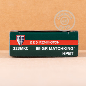 Photograph showing detail of 223 REMINGTON FIOCCHI MATCHKING 69 GRAIN BTHP (20 ROUNDS)