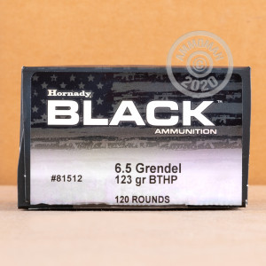 Photo of 6.5 Grendel Hollow-Point Boat Tail (HP-BT) ammo by Hornady for sale.