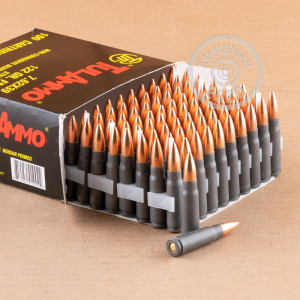 A photograph detailing the 7.62 x 39 ammo with FMJ bullets made by Tula Cartridge Works.