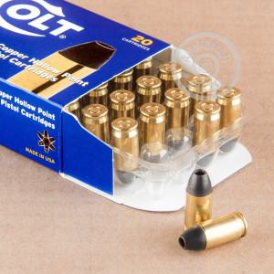 Image detailing the brass case and boxer primers on the Colt ammunition.