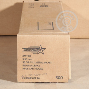 A photograph detailing the 5.56x45mm ammo with FMJ-BT bullets made by Independence.