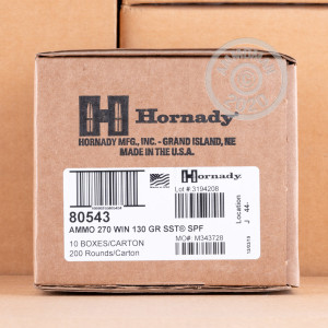 Image of 270 Winchester ammo by Hornady that's ideal for hunting varmint sized game, whitetail hunting.