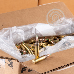 Photo detailing the 5.56 NATO LAKE CITY 62 GRAIN M855 GREEN TIP FULL METAL JACKET (1000 ROUNDS) for sale at AmmoMan.com.