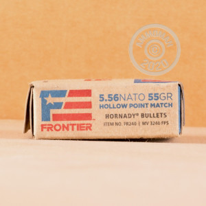 Photo detailing the 5.56X45MM HORNADY FRONTIER 55 GRAIN HP MATCH (20 ROUNDS) for sale at AmmoMan.com.