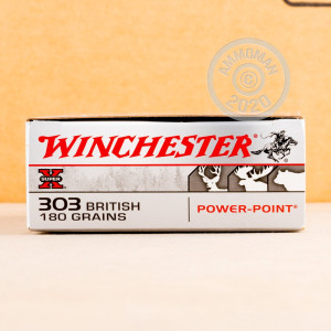 Image of 303 British ammo by Winchester that's ideal for big game hunting, hunting wild pigs, whitetail hunting.