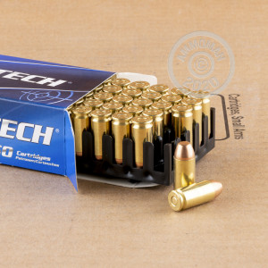 A photograph detailing the .40 Smith & Wesson ammo with full metal jacket flat-point bullets made by Magtech.
