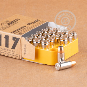 Image of SIG 9mm Luger pistol ammunition.