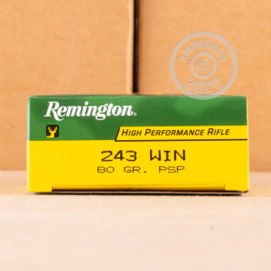 A photograph detailing the 243 Winchester ammo with Pointed Soft-Point (PSP) bullets made by Remington.