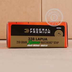 Photograph showing detail of 338 LAPUA FEDERAL GOLD MATCH 250 GRAIN HPBT (20 ROUNDS)