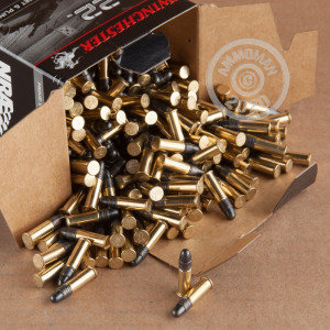 Photograph of .22 Long Rifle ammo with copper plated round nose ideal for training at the range.