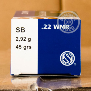 Photograph of .22 WMR ammo with copper plated round nose ideal for training at the range.