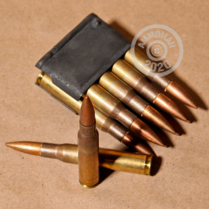 Image detailing the brass case and berdan primers on 320 rounds of Pakistani Surplus ammunition.