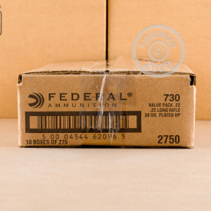 A photograph of 2750 rounds of 38 grain .22 Long Rifle ammo with a copper plated hollow point bullet for sale.