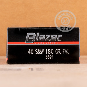 Image of .40 Smith & Wesson ammo by Blazer that's ideal for training at the range.