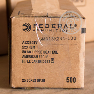 Image of the 223 REM. FEDERAL AMERICAN EAGLE 50 GRAIN POLYMER TIPPED VARMINT (500 ROUNDS) available at AmmoMan.com.